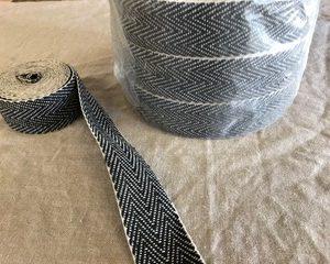 Webbing – Herringbone Weave Black/White